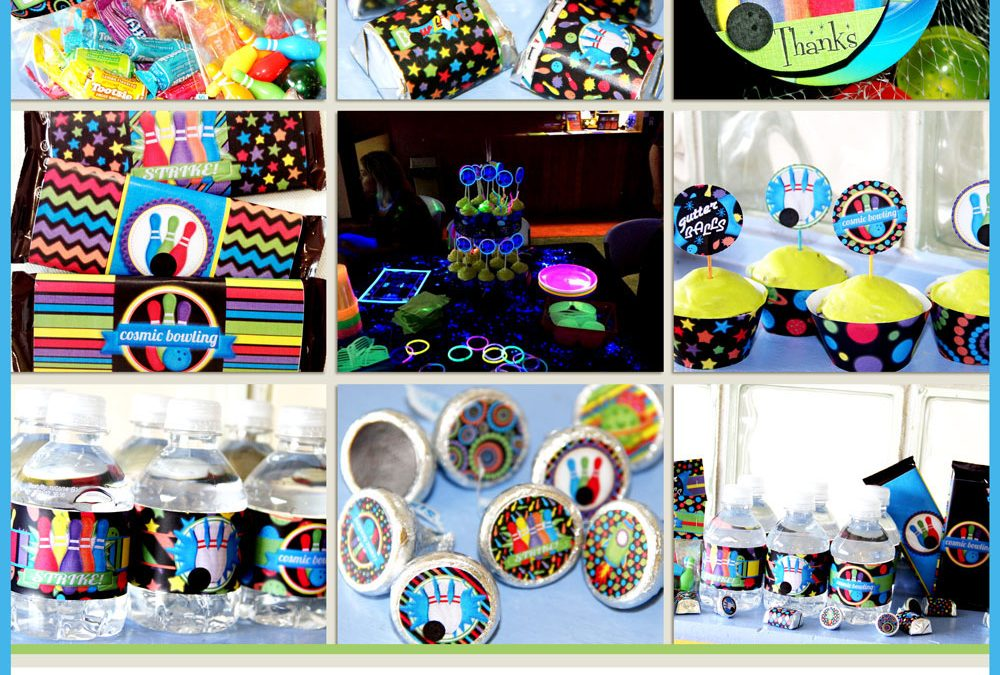 Cosmic Glow Bowling Birthday Party Printables