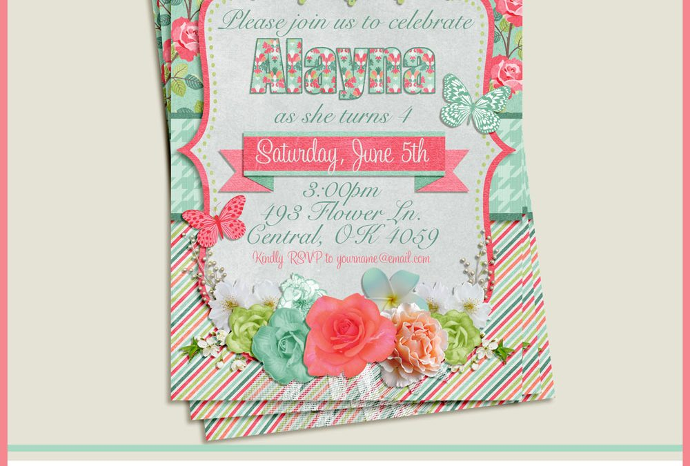 Roses and Butterflies Birthday Party Invitation