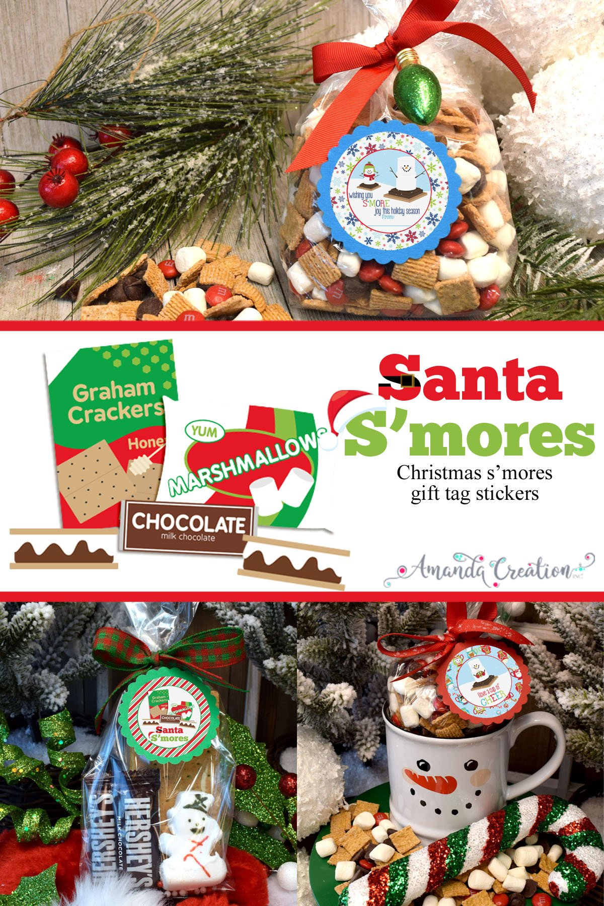 Christmas S'mores Gift Tag Stickers