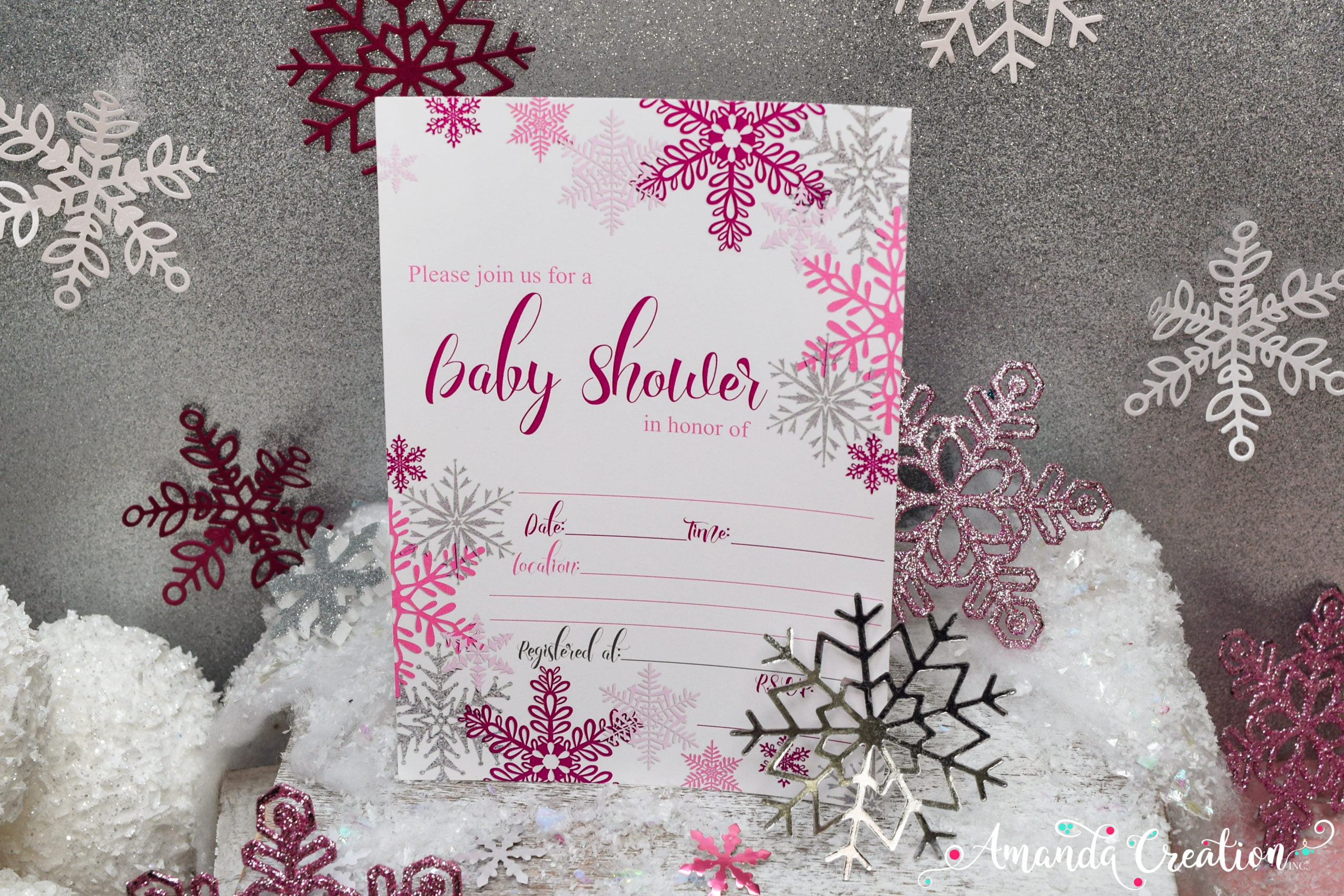 snowflake girl baby shower invitation