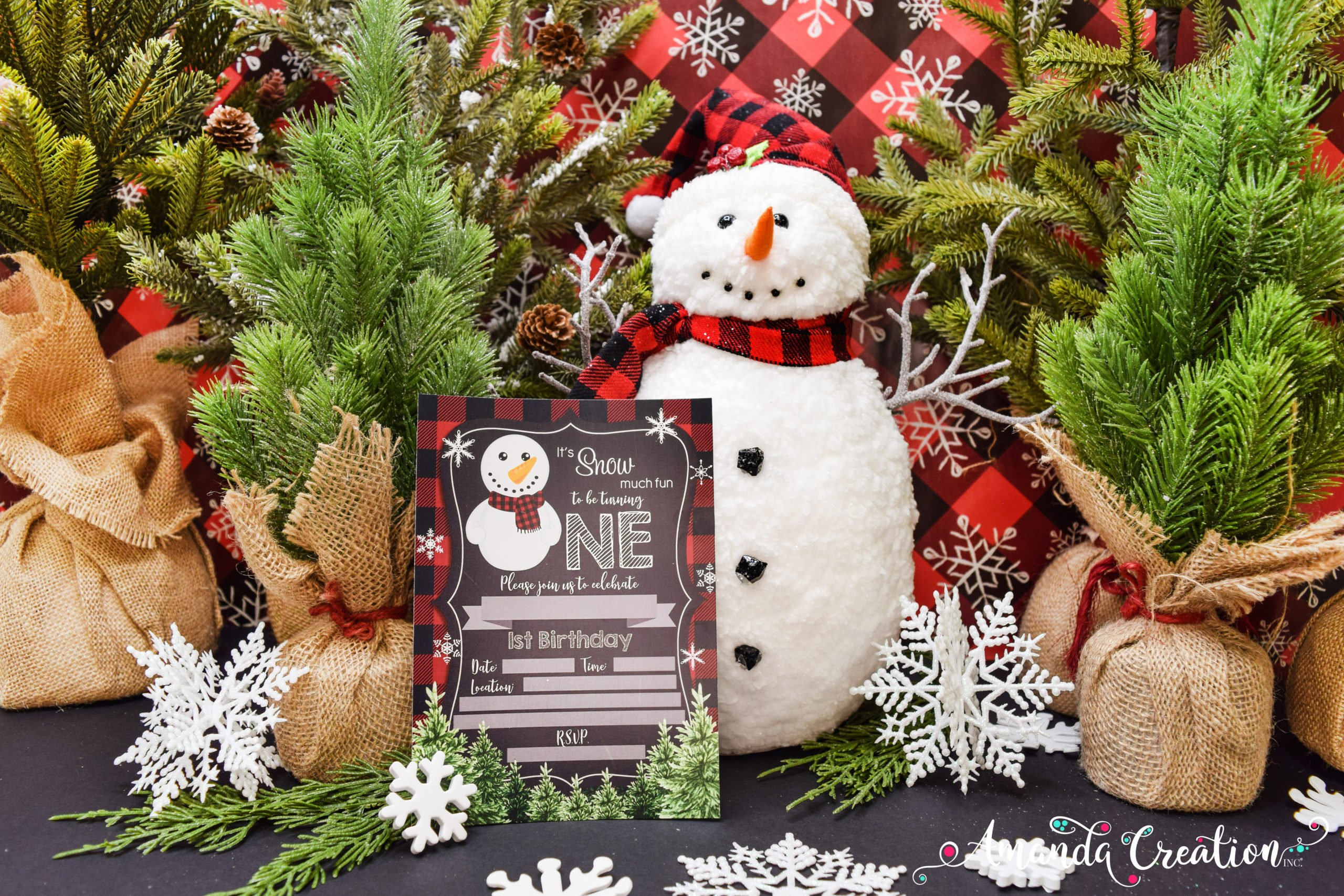 chalkboard snowman 1st birthday party invitation