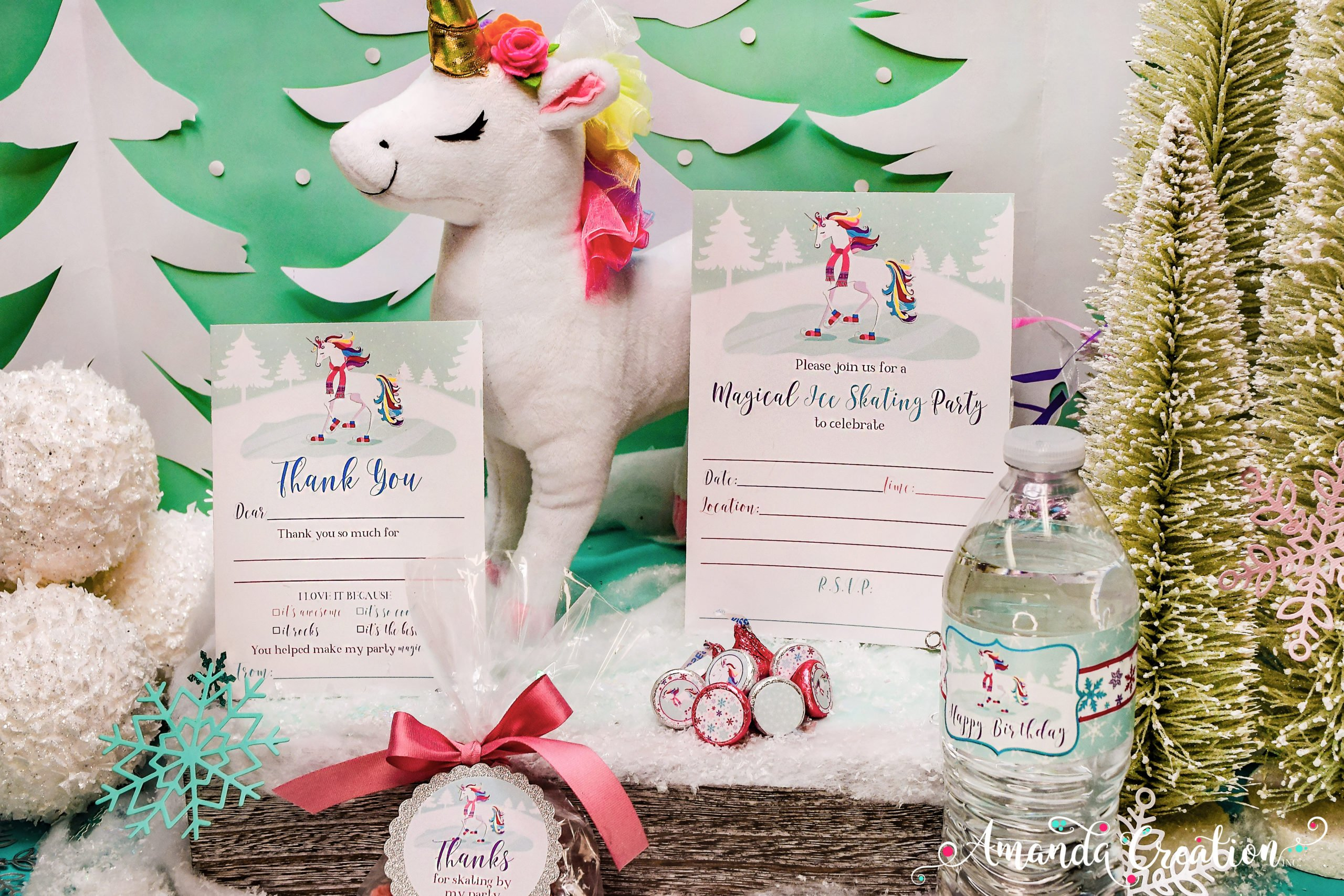 Unicorn Ice Skating Party Set