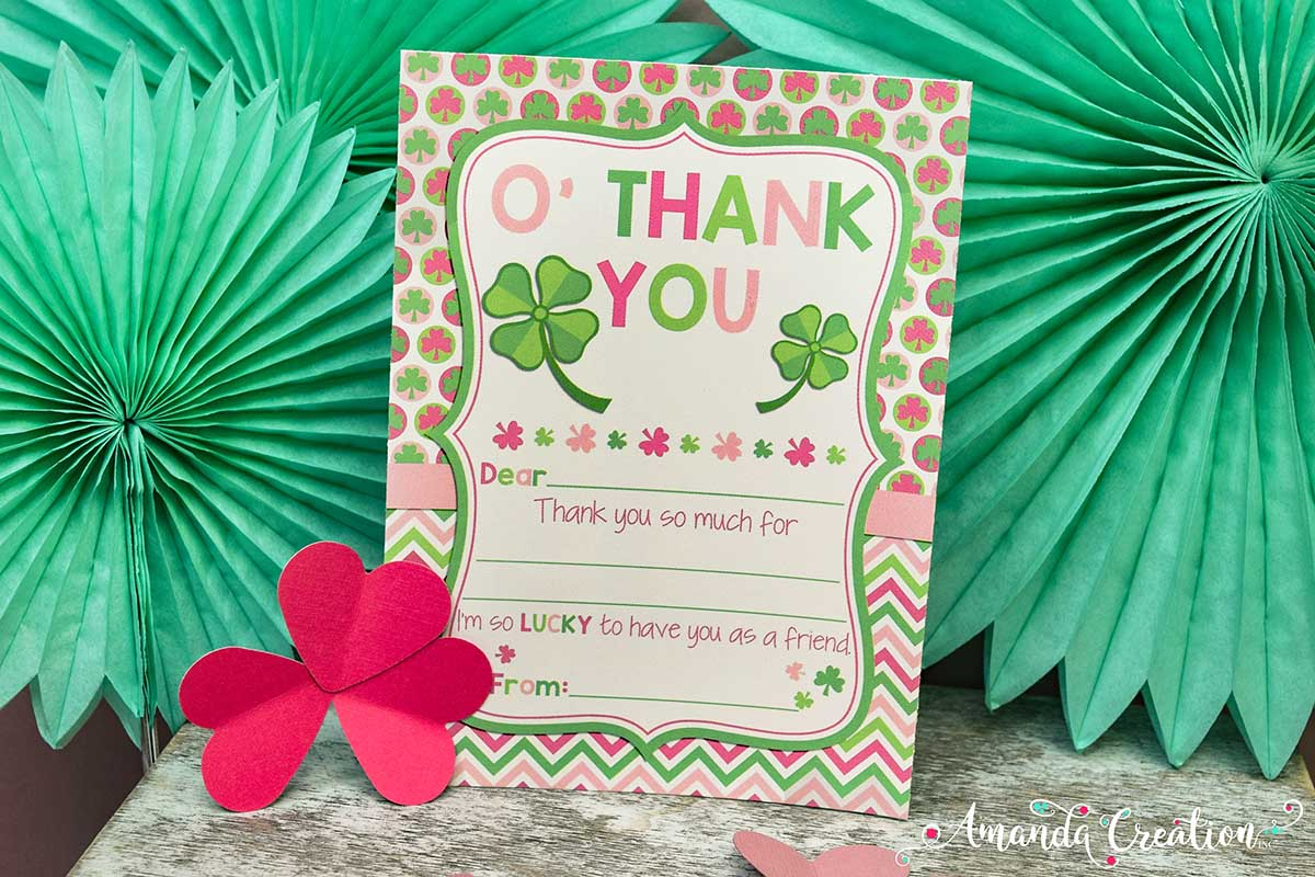 St. Patrick's Day Birthday Party Thank You Card
