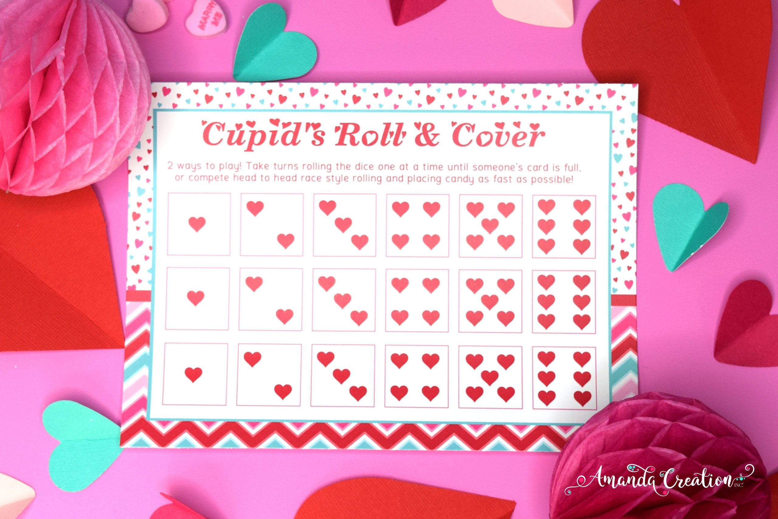 Cupid's Roll & Cover Valentine's Day Game