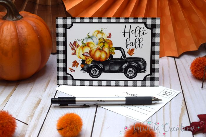 Buffalo Plaid Fall Postcards Send Rustic Charm