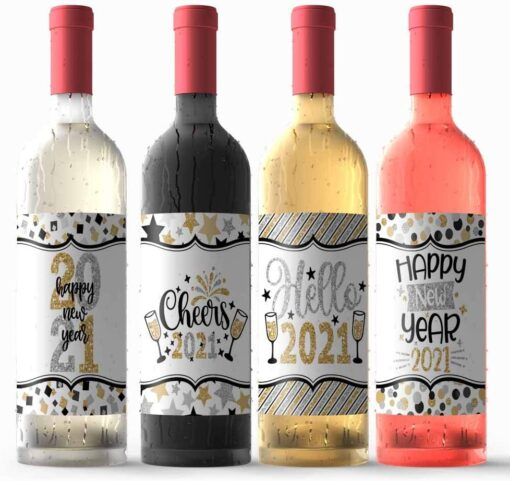 Gold & Silver Happy New Year Wine Bottle Labels