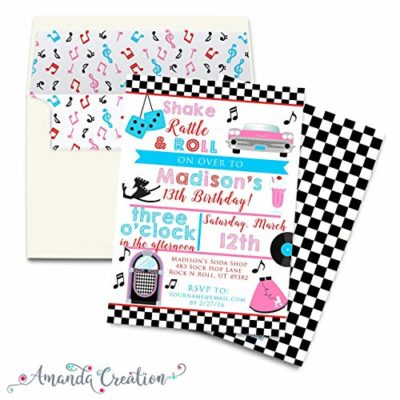 50's Sock Hop Party Invitation
