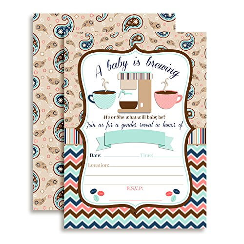 Coffee Gender Reveal Baby Shower Invitations