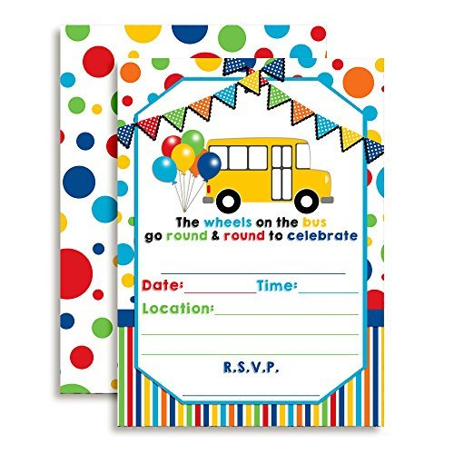 Wheels on The Bus Birthday Party Invitations