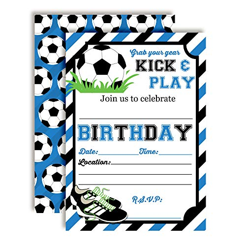 Blue & Black Kick and Play Soccer Themed Birthday Party Invitations for Boys
