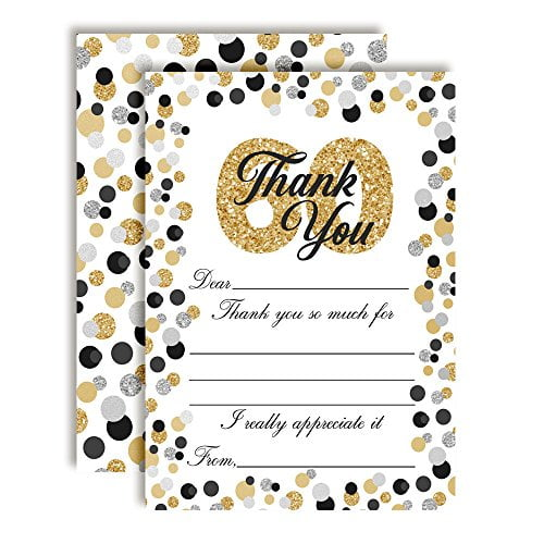 Confetti Polka Dot 60th Thank You Cards