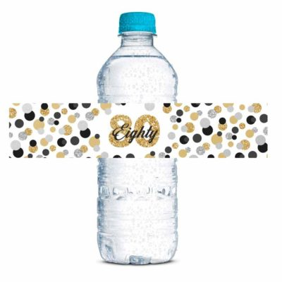 Confetti Polka Dot 80th Birthday Party Water Bottle Labels