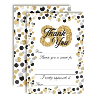 Confetti Polka Dot 80th Thank You Cards