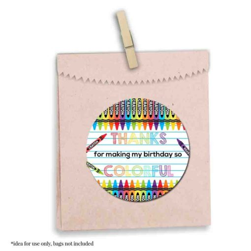 Crayon Birthday Party Stickers