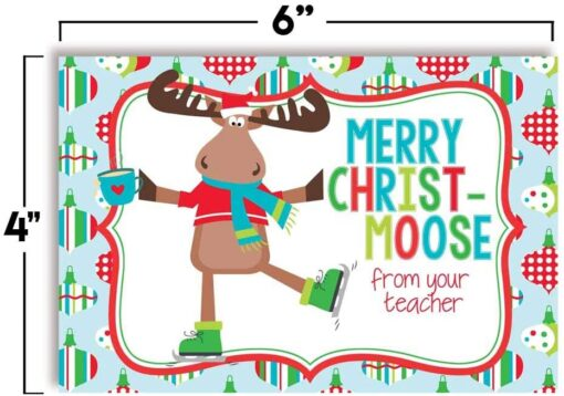 Cute Ice Skating Moose Themed Merry Christmas Blank Postcards For Teachers To Send To Students