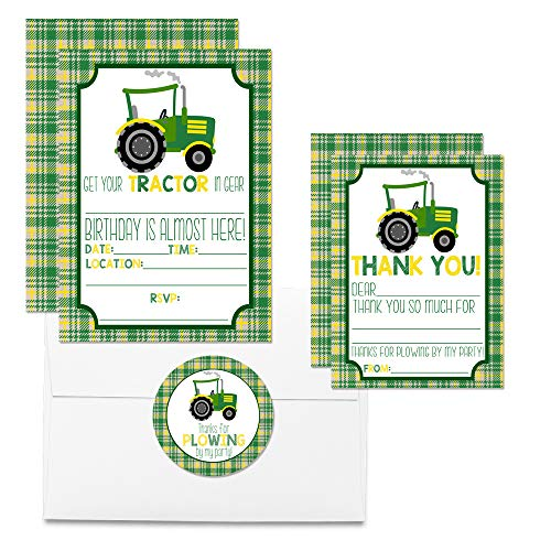 Green & Yellow Tractor Thank You Cards