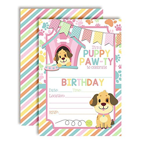 Dog House Puppy Dog Themed Birthday Party Invitations for Girls