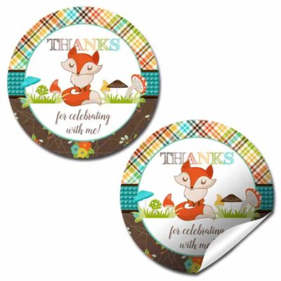 Fall Fox Birthday Party Stickers
