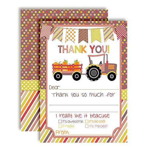 Tractor With Pumpkins Thank You Cards (Girl)