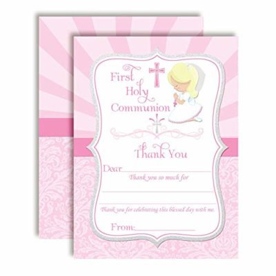 Communion Thank You Notes (Girl, blond hair)