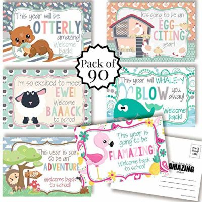 Animal Welcome Back To School Postcards For Teachers (Variety Pack)