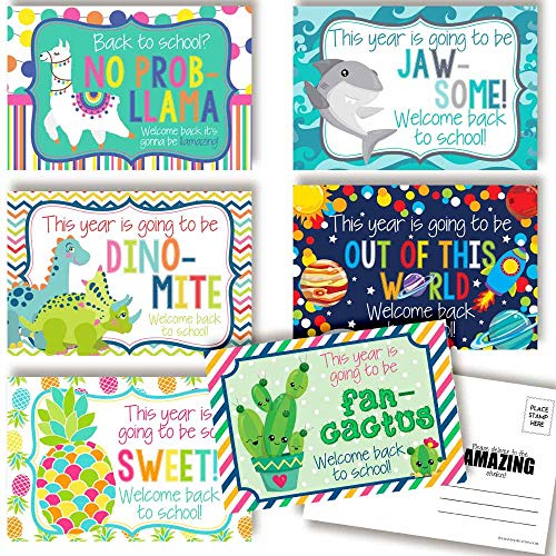 Fun & Bright Welcome Back To School Postcards For Teachers (Variety Pack)