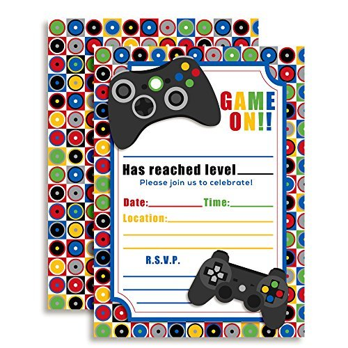 Game On Video Gamer Birthday Party Invitations