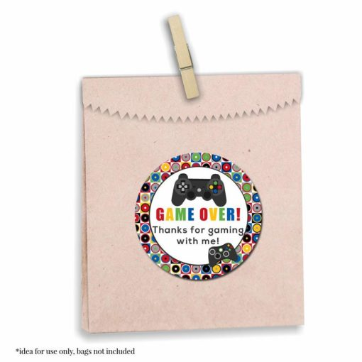 Game Over, Video Game Birthday Party Stickers