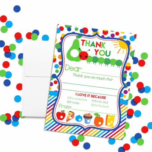Happy Hungry Caterpillar Thank You Cards