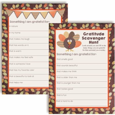 Gobble Til You Wobble Scavenger Hunt Thanksgiving Game Cards