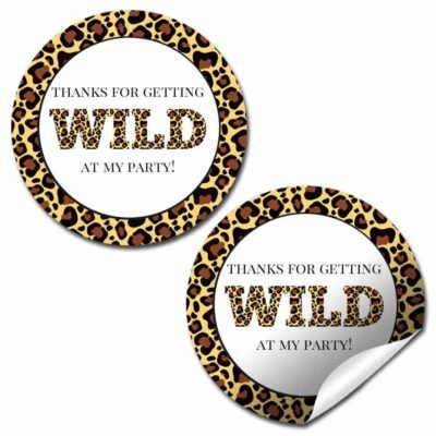 Get Wild Leopard Print Birthday Party Stickers