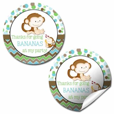 Little Monkey Go Bananas Birthday Party Stickers (Boy)