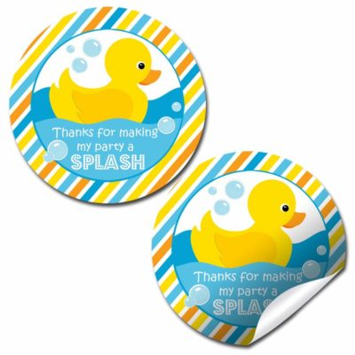 Little Rubber Duckie Birthday Party Stickers
