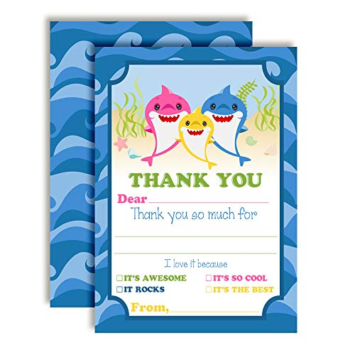 Baby Shark Thank You Cards
