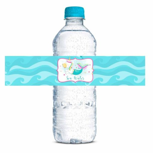 Unicorn Mermaid Birthday Party Water Bottle Labels