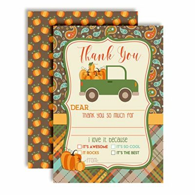 Green Truck with Pumpkins Thank You Cards