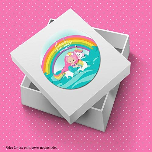 Pink Mermaid Unicorn Pool Party Stickers