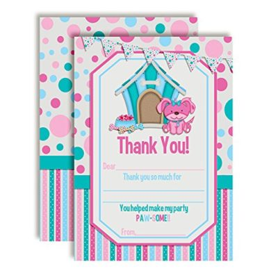 Pink Puppy Thank You Cards