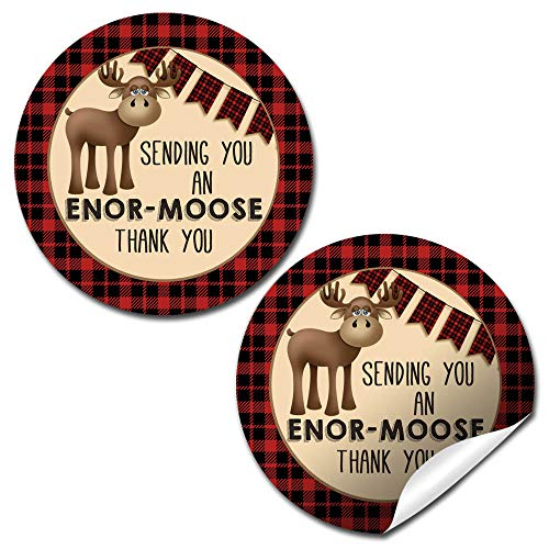 Red & Black Flannel Print Moose Stickers