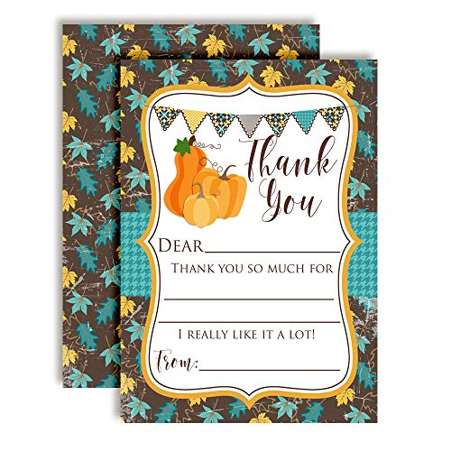 Teal Leaves & Pumpkins Thank You Cards