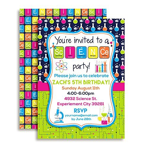 Science Themed Custom & Personalized Birthday Party Invitations