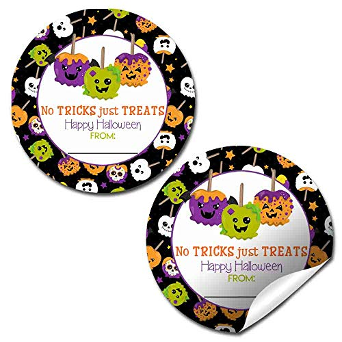 Spooky Candy Apple Halloween Treat Bag Stickers