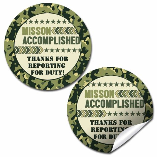 Ten Hut! Army Camouflage Birthday Party Stickers