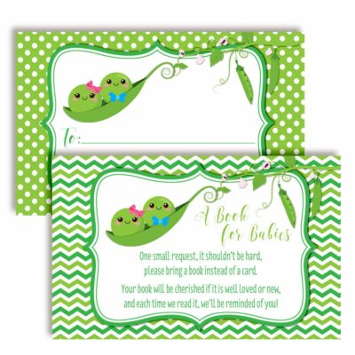 """Two Peas in A Pod """"Bring A Book"""" Cards for Twin Baby Showers (Boy, Girl)"""