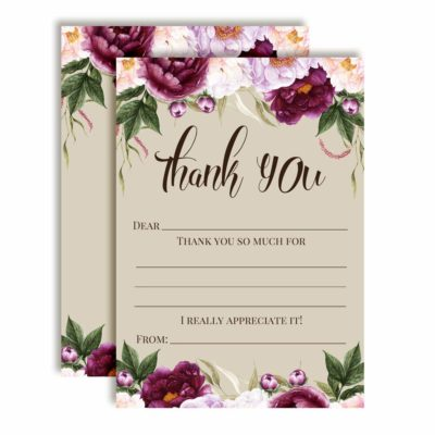 Violet & Lilac Floral Bridal Shower Thank You Cards