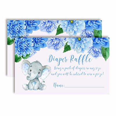 Watercolor Dahlia Floral Elephant Diaper Raffle Tickets for Baby Showers (Boy)