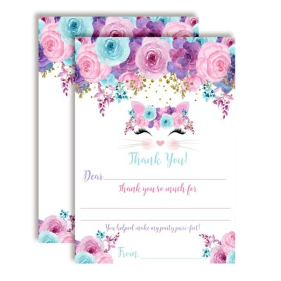 Floral Kitty Cat Face Thank You Cards