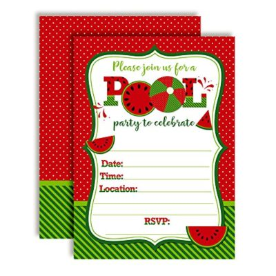 Red Watermelon Birthday Pool Party Invitations